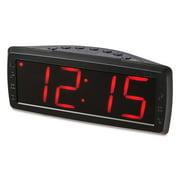 """onn. Digital Alarm Clock 1.8"""" Red LCD, AM/FM Radio, Black"""