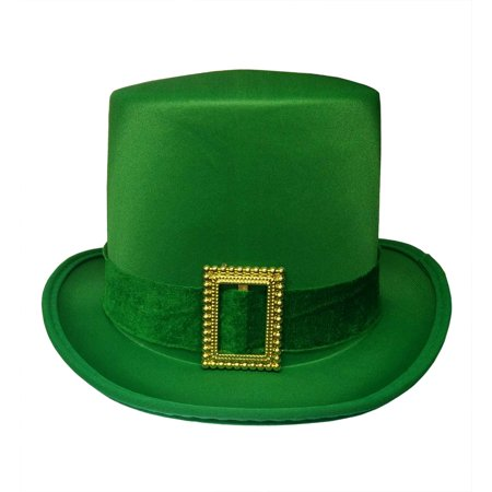 St. Patricks Day Top Hat Green Satin With Buckle Adult Leprechaun Costume - St Patricks Day Hats Cheap