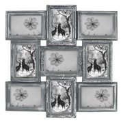 """Photo Frame 20""""X20"""" Gray Curved Square Shape Photo Picture Frame Selfie Gallery Collage Wall Hanging For 6""""x4"""" Photo - 9 Photo Sockets - Wall Mounting Design"""