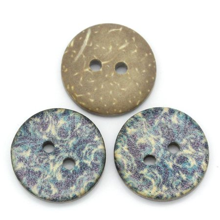 Sexy Sparkles 5 Pcs Coconut Shell Round Natural Buttons with Blue Vines Pattern 15mm