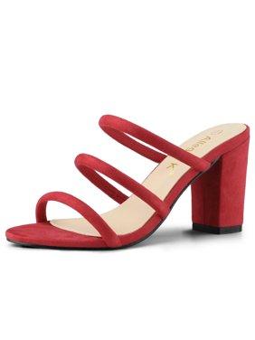 cb44daa106 Product Image Women's Open Toe Triple Straps Block Heel Mules Sandals Red  (Size 10). Product TitleAllegra KWomen's ...