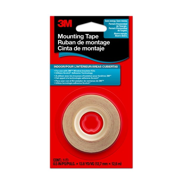 3M™ Clear Indoor Window Film Mounting Tape, 1/2 in x 13.8 Yds, 1 Roll