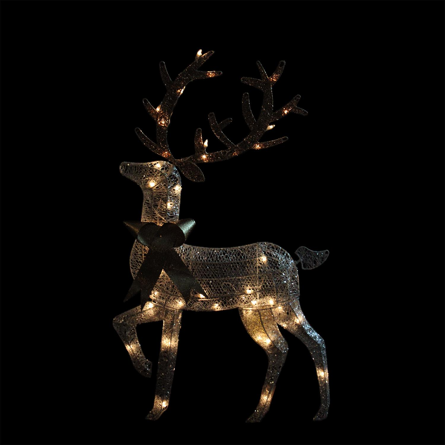 "46"" Lighted 2-D Silver Glitter Reindeer Christmas Yard Art ..."