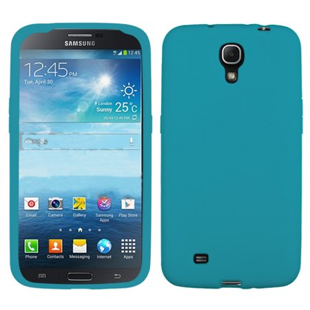(Teal Blue Solid Silicone Skin Protector Cover Case for Samsung i527 Galaxy Mega)