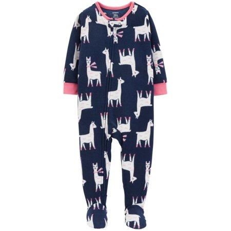 Carters Infant Girls Plush Blue LLama Sleeper Footie Pajamas Sleep & Play Infant Sleeper Pajamas