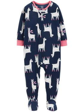Carters Infant Girls Plush Blue LLama Sleeper Footie Pajamas Sleep & Play