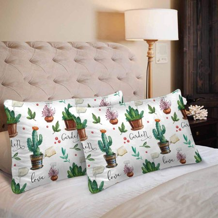GCKG Watercolor Pattern Flower Pots Cactus Leaves Pillow Cases Pillowcase 20x30 inches Set of 2 - image 2 of 4