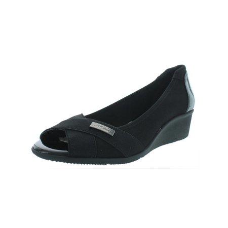 Anne Klein Womens Jetta Faux Leather Dressy Pumps Black 10.5 Medium (B,M)