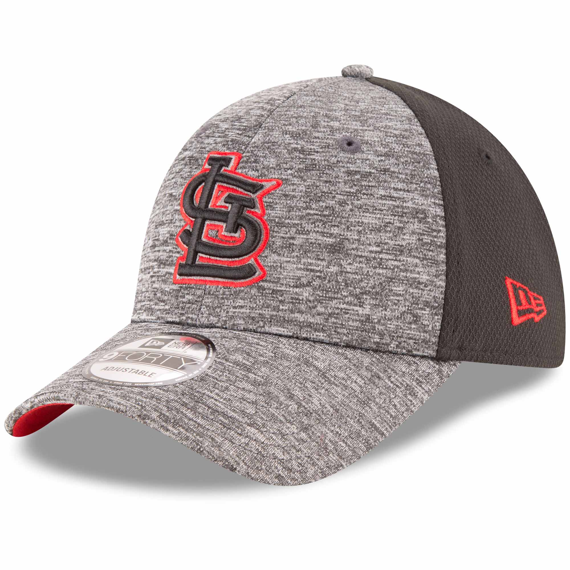 St. Louis Cardinals New Era Shadowed Team Logo 9FORTY Adjustable Hat - Heathered Gray/Black - OSFA