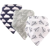 Hudson Baby Boy and Girl Bandana Bib, 3-Pack - Paper Airplane