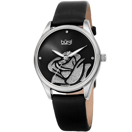 Black Leather Diamond Watch (Burgi  Ladies Diamond Glitter Rose Floral Black Leather Strap Watch)