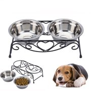 Stainless Steel Double Feeding Bowls Cats Dog Pet Water Food Feeder Dish With Retro Iron Stand Pet Food Bowls