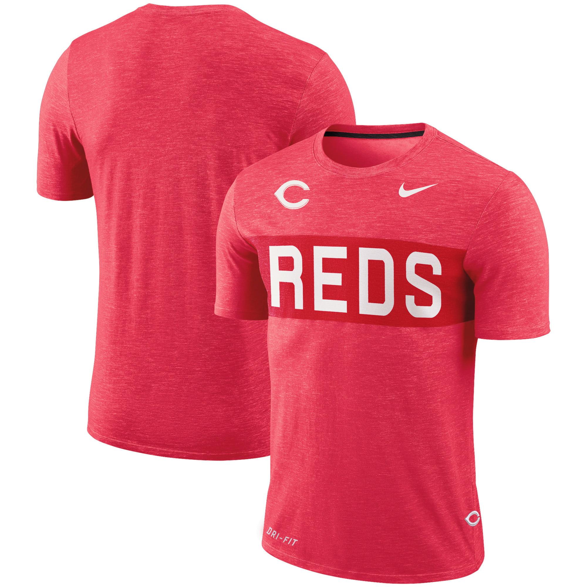 Cincinnati Reds Nike Slub Stripe Performance T-Shirt - Red