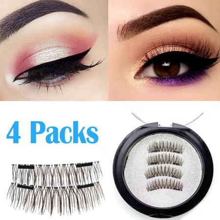 Magnetic eyelashes, Oak Leaf New Dual Magnetic False Eyelashes - 1 Pairs (4 Pieces) Ultra Thin 3D Fiber Reusable Best Fake Lashes Extension for Natural, Perfect for Deep Set Eyes & Round
