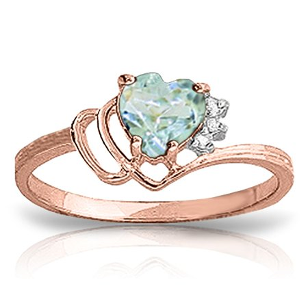 ALARRI 0.97 Carat 14K Solid Rose Gold Ring Natural Diamond Aquamarine With Ring Size 10.5.