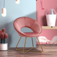 Duhome Chic Accent chair for small space Living Room with Arm Home Office Chair Modern Golden Metal Frame Legs Velvet Padded Seat Easy Assembly Pink