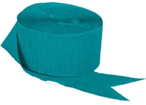 2 Rolls Each Color 290 FEET Total MADE IN USA! Teal and White Crepe Paper Streamers
