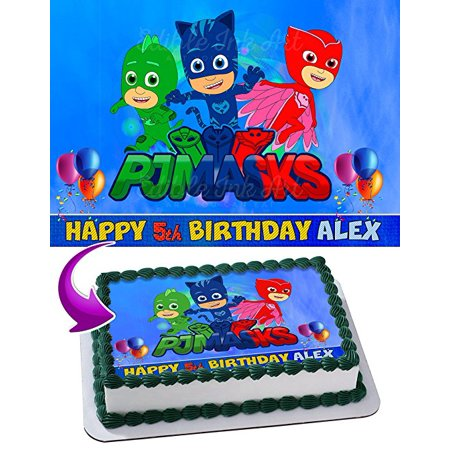 PJ Masks Disney Edible Cake Topper Personalized Birthday 1 2 Size Sheet Decoration Party Sugar Frosting Transfer Fondant Image