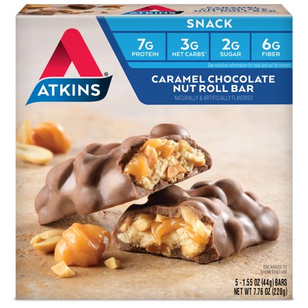 Atkins Caramel Chocolate Nut Roll Bar, 1.55oz, 5-pack (Snack Bar)