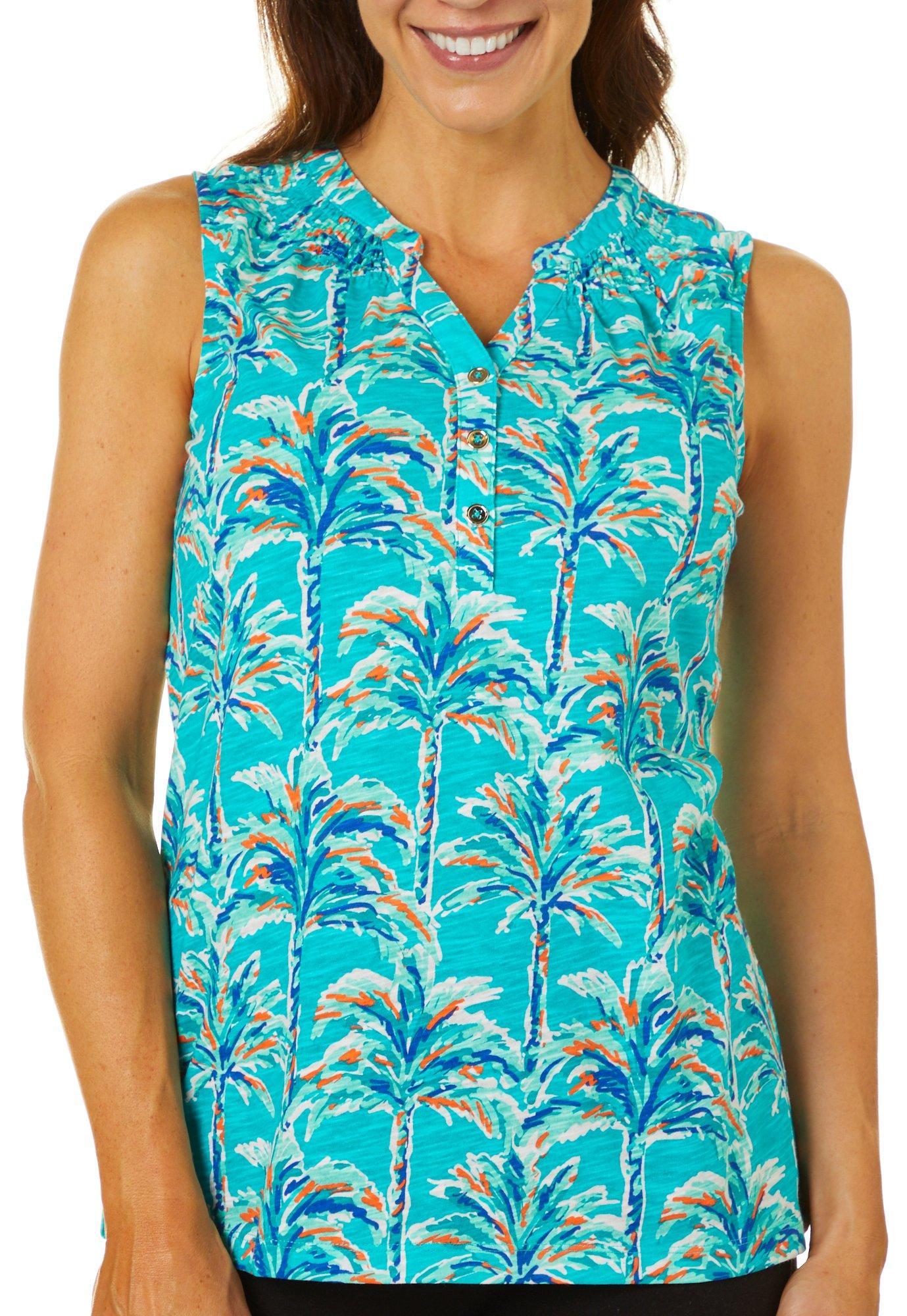 Caribbean Joe Womens Dark Tropical Floral Visor One Size Navy Blue Multi