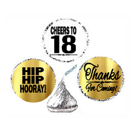18th Birthday / Anniversary Cheers Hooray Thanks For Coming 324pk Stickers / Labels for Chocolate Drop Hersheys Kisses, Party Favors Decorations