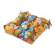 Aloha Floral 20 in. Square Plush Outdoor Chair Cushion