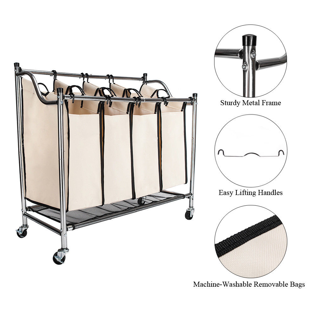 Zimtown 4-Section Heavy Duty Laundry Hamper Sorter, Superior Steel Rolling Laundry Cart