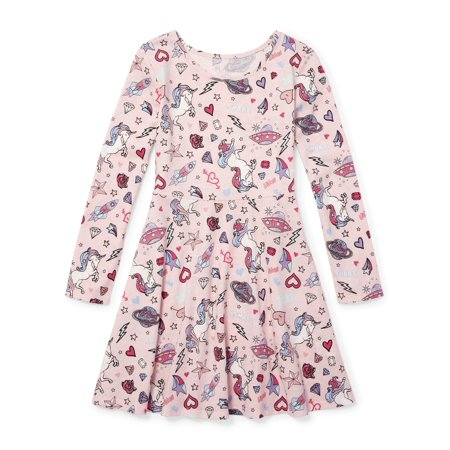 Long Dress Girl (The Children's Place Unicorn Doodle Long Sleeve Knit Dress (Little Girls & Big)