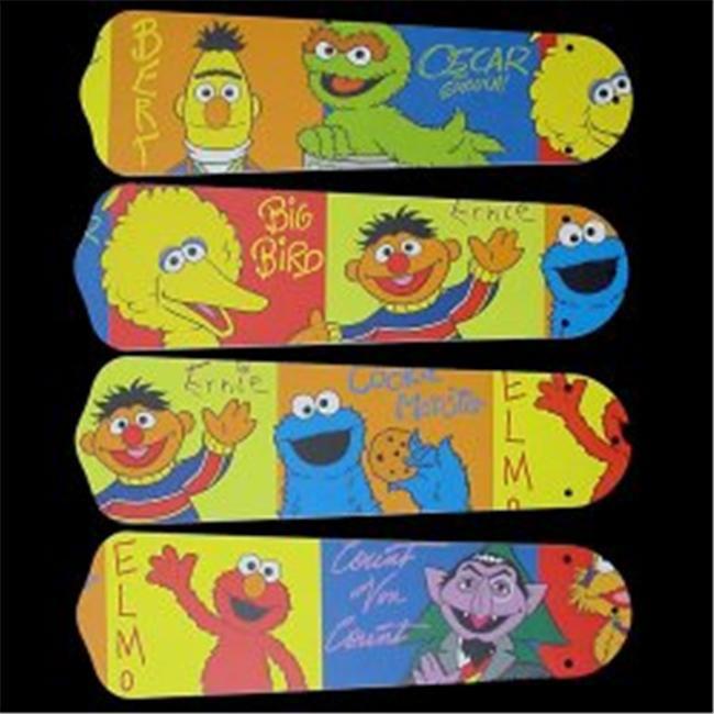 Ceiling Fan Designers 42SET-KIDS-SSEBB Sesame Street Elmo Big Bird 42 in. Ceiling Fan Blades Only