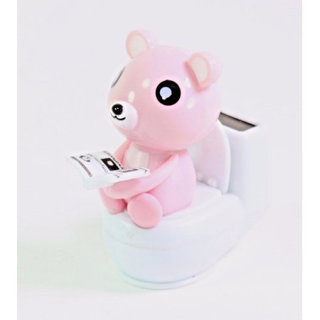 Decoration For Toilet (Pink Bear Reading On the Toilet Bowl Solar Toy Funny Office Home Room Decoration)