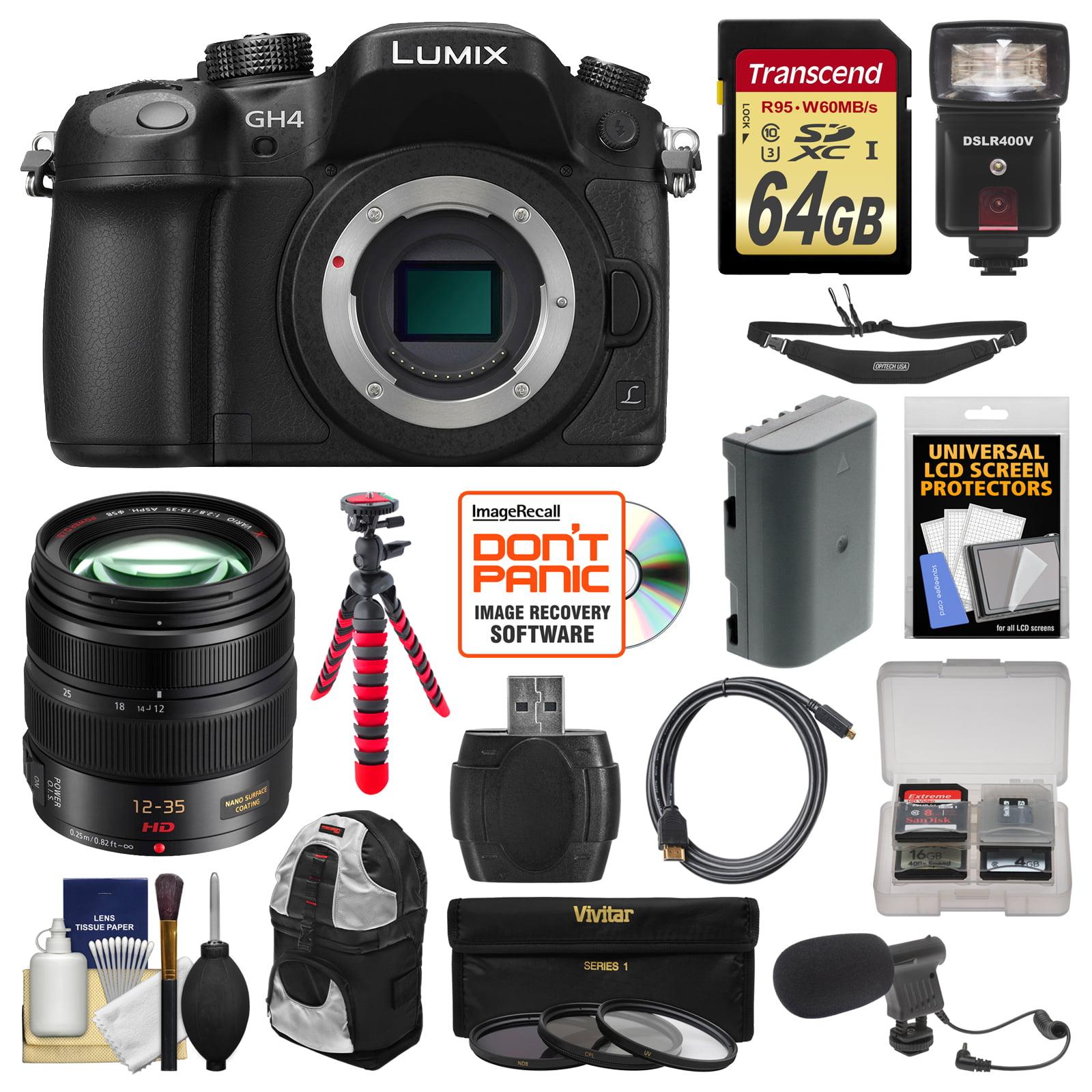 Panasonic Lumix DMC-GH4 4K Micro Four Thirds Digital Camera + 12-35mm f 2.8 Lens + 64GB Card + Backpack +... by Panasonic