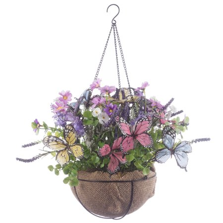 "OakRidge Mini Fully Assembled Butterflies & Floral Hanging Basket, 8"" Diameter with 12"" Long Chain – Artificial Floral Home Décor Accent – Indoor/Outdoor Use"