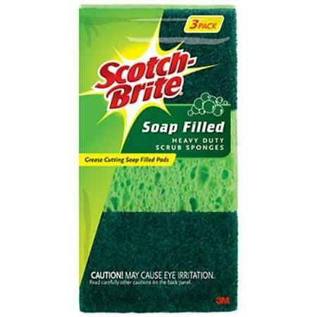 Scotch Brite Soap Filled Heavy Duty Scrub Sponges Tough Non- Ru 4PK