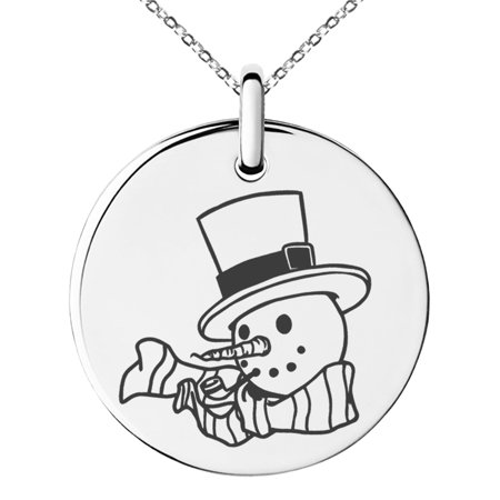 Stainless Steel Tophatter Snowman Engraved Small Medallion Circle Charm Pendant Necklace](Snowman Necklace)