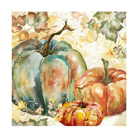 Watercolor Harvest Teal And Orange Pumpkins I Poster Print by Tre Sorelle Studios (12 x (Orange Harvest)