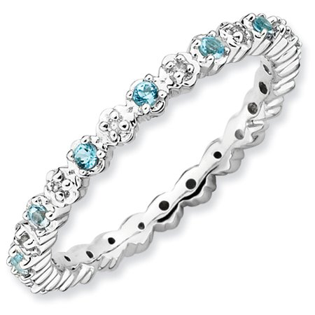 Sterling Silver Stackable Expressions Blue Topaz and Diamond Ring - Ring Size: 5 to 10 (Blue Topaz Ring Size 10)