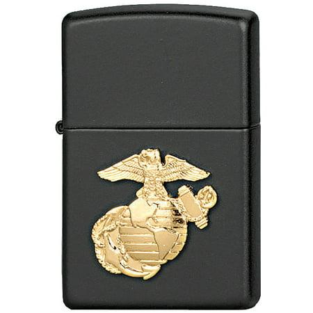 Zippo Pewter Emblem Black Crackle - Black - Military Crest Marines Zippo Lighter with USMC Emblem - USA Made