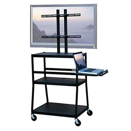 Wide Body Av Cart - VTI Manufacturing FPC4418E 42 in. Wide body cart , TV flat panel w pull out shelf