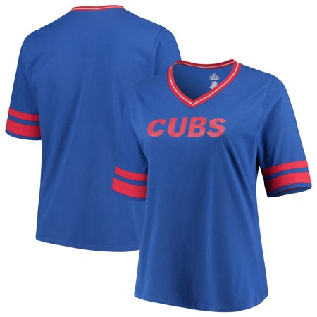 top fashion 04b05 899d5 Chicago Cubs Women's Plus Size V-Neck Jersey T-Shirt - Royal/Red