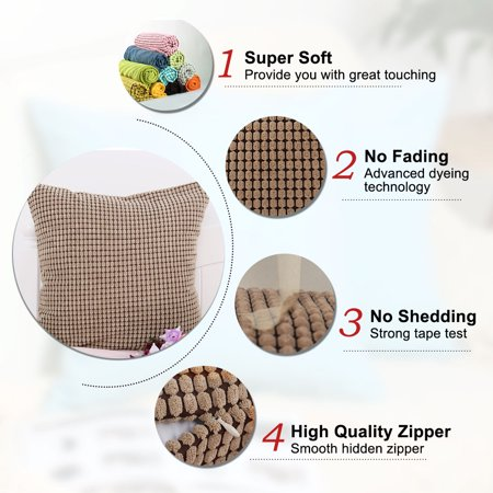 "Sofa Cushion Cover Striped Corduroy Throw Toss Pillow Cases 18"" Brown - image 3 de 7"