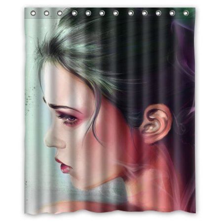 DEYOU Art Geisha Shower Curtain Polyester Fabric Bathroom Size 60x72 Inch