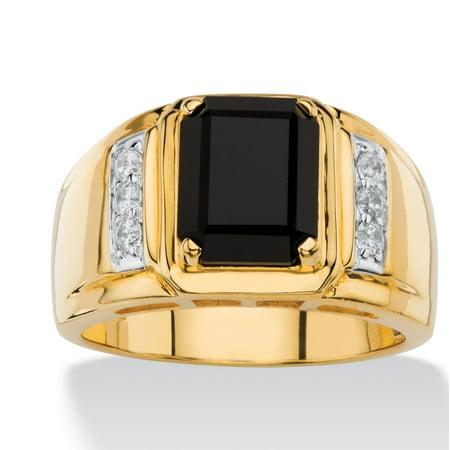 Mens Black Onyx Eagle Ring (Men's 1/5 TCW Genuine Black Onyx and White Diamond Classic Ring 18k Gold-Plated)