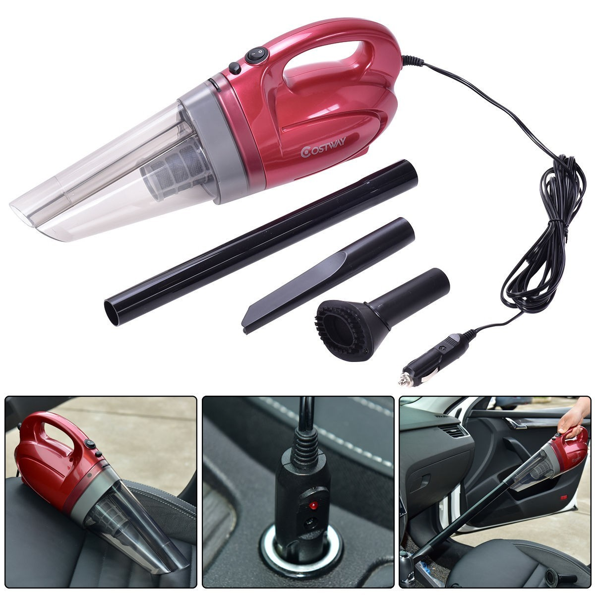 12V 100W Portable Handheld Vacuum Cleaner For Cars - Wine
