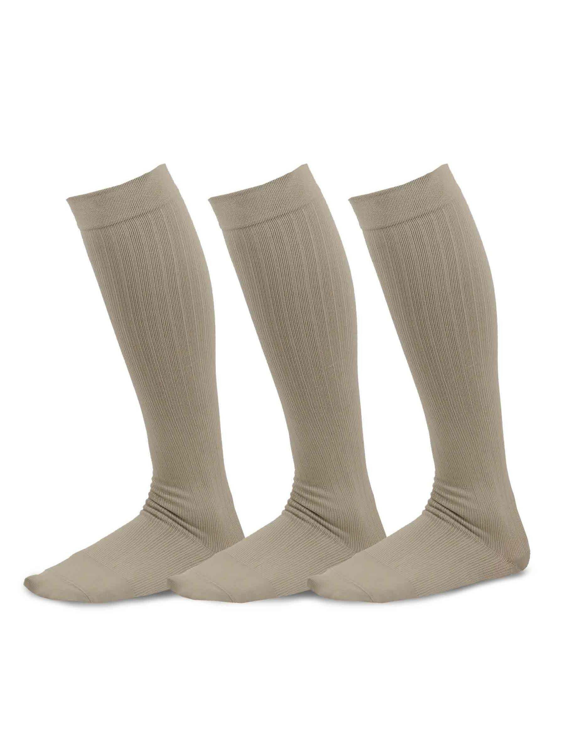 Medium TeeHee Viscose from Bamboo Compression Knee High Socks with Rib 3-Pack , White 9-11