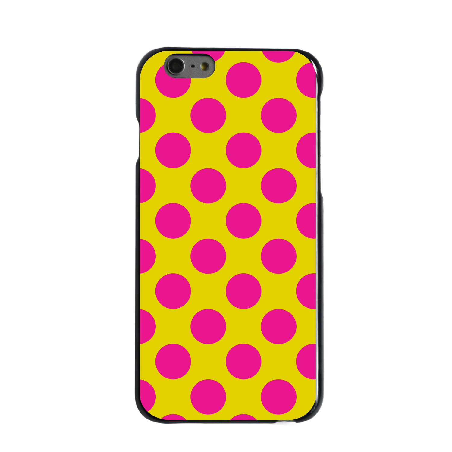 """CUSTOM Black Hard Plastic Snap-On Case for Apple iPhone 6 / 6S (4.7"""" Screen) - Yellow Hot Pink Polka Dots"""