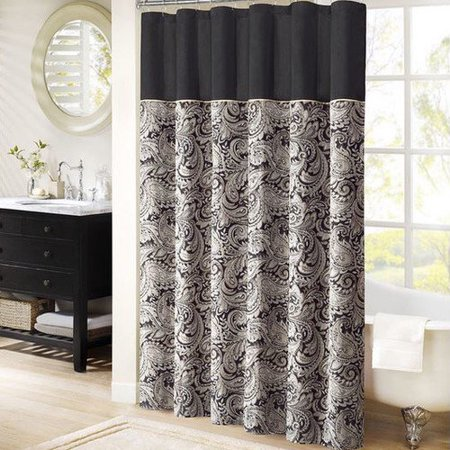 Wellington Paisley Jacquard Polyester Shower Curtain Black