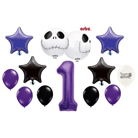 1st Birthday Party Jack Skellington Nightmare Before Christmas Balloon Bouquet - Nightmare Before Christmas Birthday Party