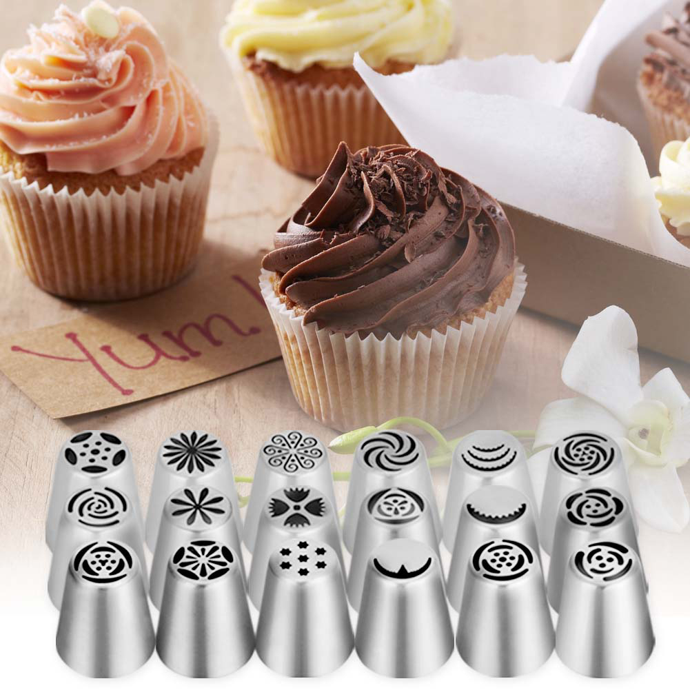 Russian Piping Tips,20 PCS Ymiko Russian Nozzles Piping Tips with 20 Disposable Piping Bags+ 2Colour Coupler Cake Decorating Set kit For Cake Cupcake Decorating