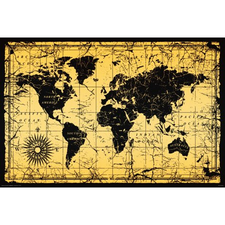 World Map Old Style Vintage Antique Art Print Poster 36x24 inch