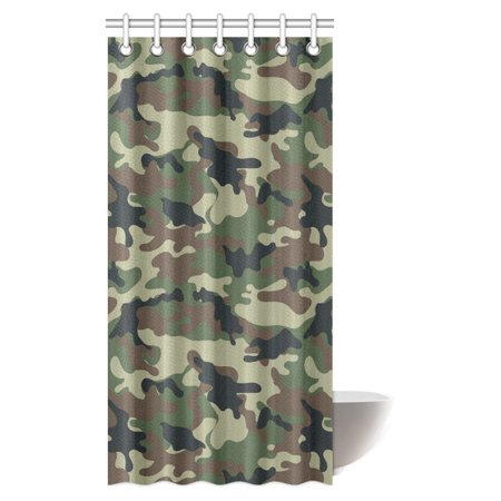 Mypop Camo Shower Curtain Green Military Camouflage Army Forces The Great Adventure Authentic Art Bathroom